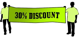 30 PERCENT DISCOUNT on a green banner carried by two men. Illustration graphic Stock Images