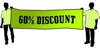 60 PERCENT DISCOUNT on a green banner carried by two men. Illustration graphic Royalty Free Stock Photography