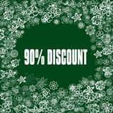 90 PERCENT DISCOUNT on green banner with flowers. Illustration image concept stock illustration