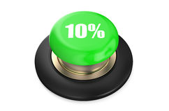 10 percent discount green button. Isolated on white background Stock Photos