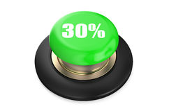 30 percent discount green button. Isolated on white background Royalty Free Stock Photos
