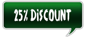 25 PERCENT DISCOUNT on green dialogue word balloon. Royalty Free Stock Photo