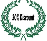 30 PERCENT DISCOUNT on green laurels sticker label. Illustration image Stock Image
