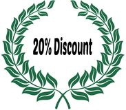 20 PERCENT DISCOUNT on green laurels sticker label. Illustration image Royalty Free Stock Photo