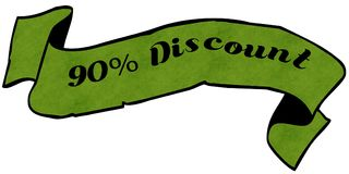 90 PERCENT DISCOUNT green ribbon. Illustration graphic concept image Stock Photo