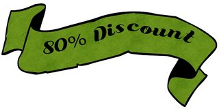 80 PERCENT DISCOUNT green ribbon. Illustration graphic concept image Stock Photo