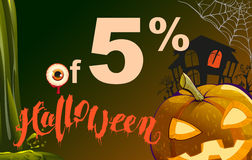 5 percent discount Halloween. Sales pumpkin lantern, cobweb, old house and eye on dark background Royalty Free Stock Photos