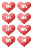 Percent discount hearts. Isolated on white Stock Photos