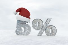 5 percent discount ice number with christmas hat 3d rendering illustration Royalty Free Stock Image