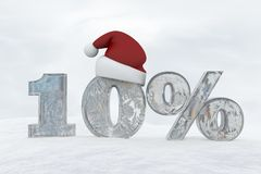 10 percent discount ice number with christmas hat 3d rendering illustration. Snow Royalty Free Stock Images
