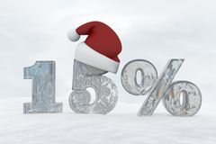 15 percent discount ice number with christmas hat 3d rendering illustration Stock Image