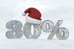 30 percent discount ice number with christmas hat 3d rendering illustration. Snow Royalty Free Stock Images