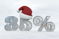 35 percent discount ice number with christmas hat 3d rendering illustration Stock Image