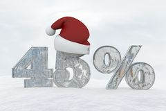 45 percent discount ice number with christmas hat 3d rendering illustration Stock Photography