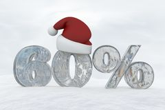60 percent discount ice number with christmas hat 3d rendering illustration. Snow vector illustration