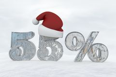 55 percent discount ice number with christmas hat 3d rendering illustration. Snow Royalty Free Stock Images