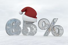 65 percent discount ice number with christmas hat 3d rendering illustration. Snow Stock Images