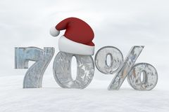 70 percent discount ice number with christmas hat 3d rendering illustration. Snow Stock Image
