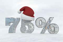 75 percent discount ice number with christmas hat 3d rendering illustration. Snow Stock Photos