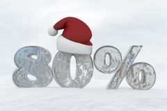 80 percent discount ice number with christmas hat 3d rendering illustration. Snow stock illustration