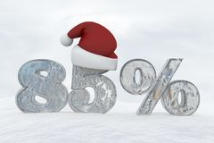 85 percent discount ice number with christmas hat 3d rendering illustration. Snow Royalty Free Stock Image
