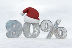 90 percent discount ice number with christmas hat 3d rendering illustration. Snow stock illustration