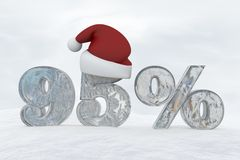 95 percent discount ice number with christmas hat 3d rendering illustration. Snow Royalty Free Stock Photography