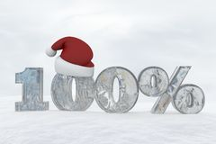 100 percent discount ice number with christmas hat 3d rendering illustration. Snow Stock Illustration