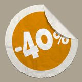 40 percent discount icon. 50 percent discount icon realistic paper sticker with curved edge royalty free illustration