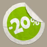 20 percent discount icon. 50 percent discount icon realistic paper sticker with curved edge vector illustration