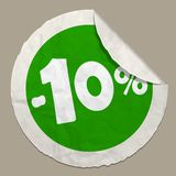 10 percent discount icon. 50 percent discount icon realistic paper sticker with curved edge stock illustration