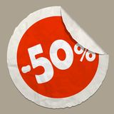 50 percent discount icon. Realistic paper sticker with curved edge royalty free illustration