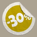 30 percent discount icon. 50 percent discount icon realistic paper sticker with curved edge royalty free illustration