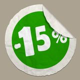 15 percent discount icon. Realistic paper sticker with curved edge royalty free illustration