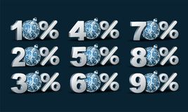 Percent discount icon. Set of symbols percent discount icon with Blue Christmas Balls. Vector illustration Stock Photography