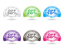Percent discount icons. Different colors Royalty Free Stock Photo