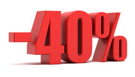 40 percent discount. Isolated on white background Royalty Free Stock Photo