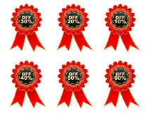 Percent discount labels. Red labels with percent discount Stock Photo