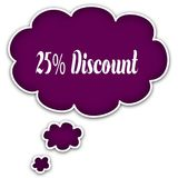 25 PERCENT DISCOUNT on magenta thought cloud. Stock Photo