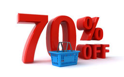 70 percent discount. 70 percent off price discount sign with a shopping basket over the white background 3d render Royalty Free Stock Images