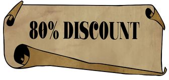 80 PERCENT DISCOUNT on old rolled paper. Illustration graphic concept image Stock Photography