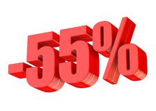 55 percent discount. 3d rendered red text isolated on white background Vector Illustration