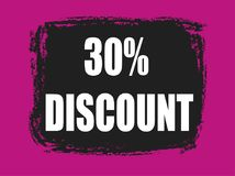 30 percent discount banner. 30 percent discount pink and black banner Stock Images