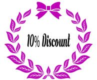 10 PERCENT DISCOUNT with pink laurels ribbon and bow. Illustration concept stock illustration