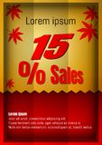 15 percent discount poster or flyer design in paper art style. Vector Illustration.  Royalty Free Stock Image