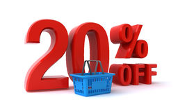20 percent discount. 20 percent price discount sign and a shopping basket over the white background (3d render&#x29 Royalty Free Stock Photography
