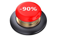 90 percent discount Red button. Isolated on white background stock illustration