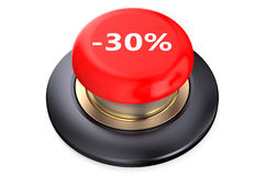30 percent discount Red button Stock Images