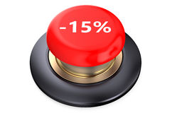 15 percent discount Red button. Isolated on white background Stock Photography