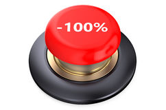 100 percent discount Red button. Isolated on white background Stock Photography